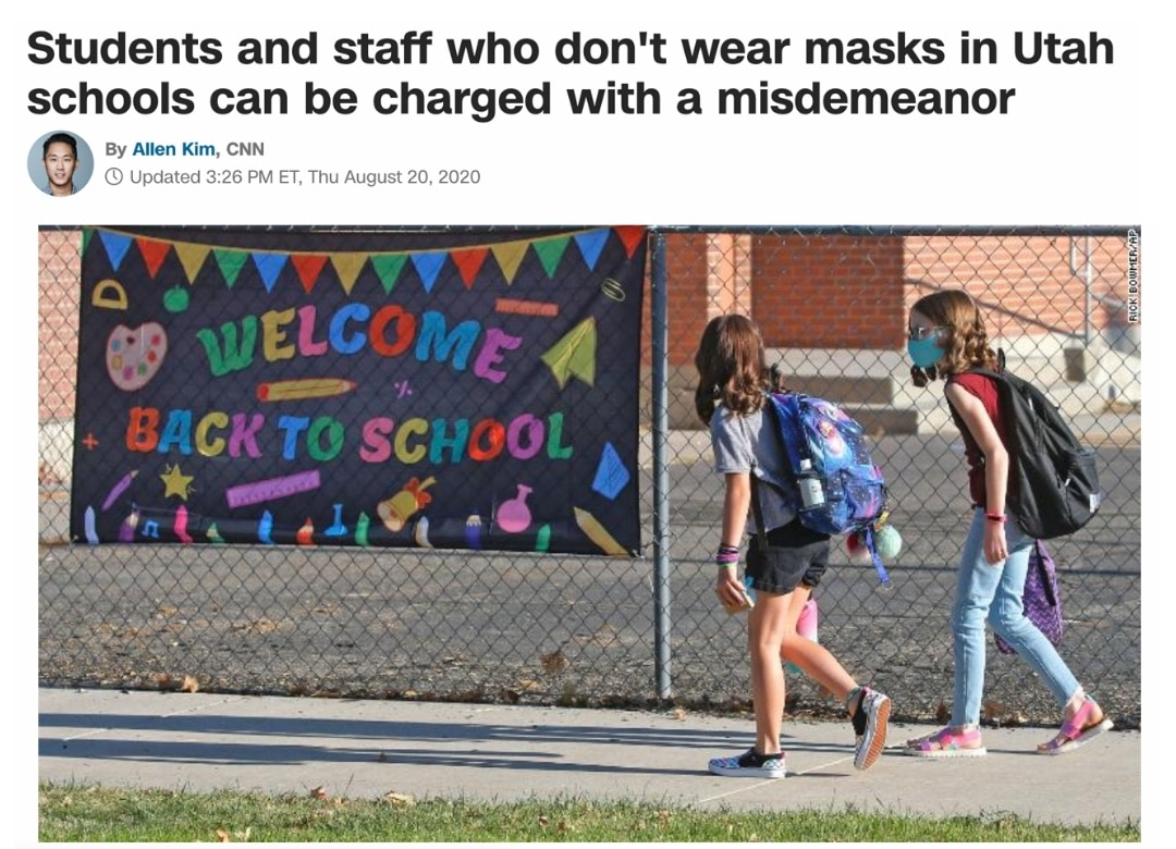 Students and staff who don't wear masks in Utah schools can be charged with a misdemeanor | CNN Article | Stand For Health Freedom